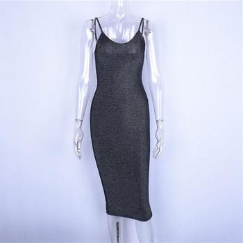 Лъскава дамска рокля Slim модел с тънки презрамки