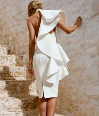 Стилна дамска ефирна  рокля в бял цвят