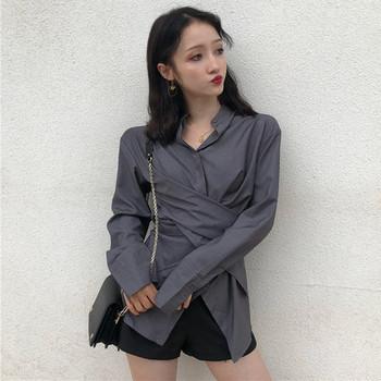 Дамска стилна риза в сив и черен цвят