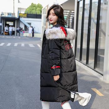 Μοντέρνο χειμερινό μπουφάν  με εφαρμογή και χνουδωτό χρώμα σε διάφορα χρώματα