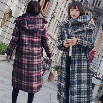 Γυναικείο μακρύ μπουφάν με κουκούλα και κασκόλ σε διάφορα χρώματα