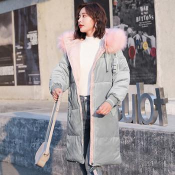 Μοντέρνο χειμερινό μπουφάν με μαλακό κάλυμμα και κουκούλα με γούνα σε διάφορα χρώματα