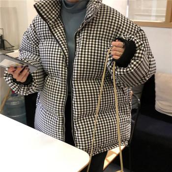 Γυναικείο χειμωνιάτικο μπουφάν ευρύτερο μοτίβο σε δύο χρώματα