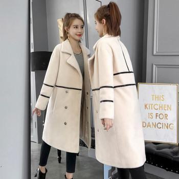 Κομψό γυναικείο παλτό μακρύ μοτίβο σε λευκό και μαύρο χρώμα - Badu ... a82b1401692