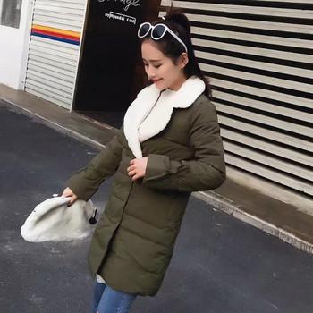 Χειμερινό γυναικείο μπουφάν με μακρύ μανίκι και μαλακή επένδυση σε τρία χρώματα