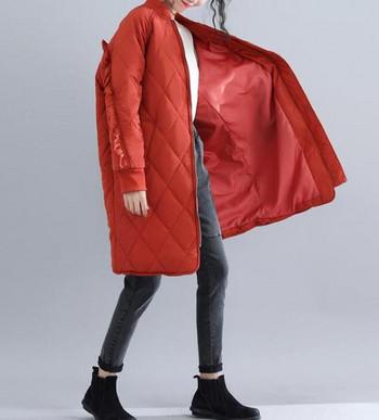 Γυναικείο μπουφάν φαρδύ σχέδιο με κολάρο σε σχήμα O σε δύο χρώματα