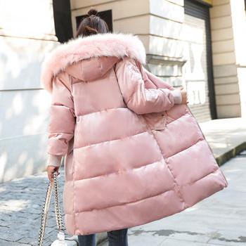 ХИТ Актуално дамско яке дълъг модел в розов,бял и син цвят