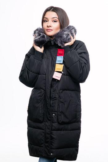 Ново дълго дамско яке за зимата с цветен пух в шест цвята