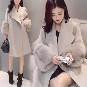 Актуално дамско палто с V- образна яка дълъг модел в сив цвят