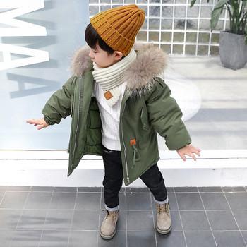 Модерно детско зимно яке за момчета с качулка с пух в няколко цвята