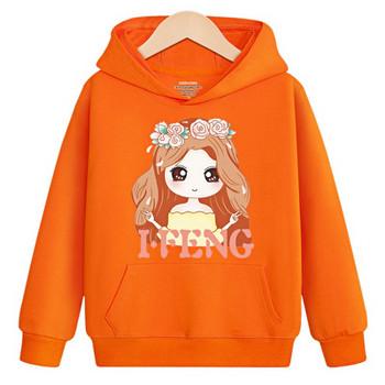 Детски ежедневен суичър за момичета с апликация в червен и оранжев цвят