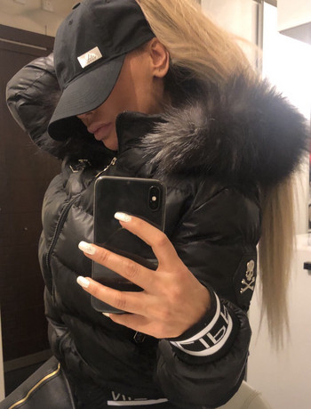 Дамско яке ествствен пух Черен мат