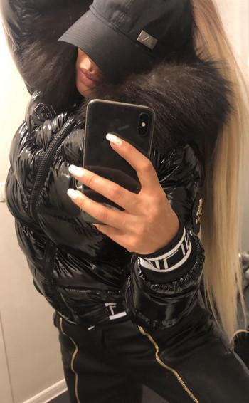 Дамско яке естествен пух Черен ЛАК