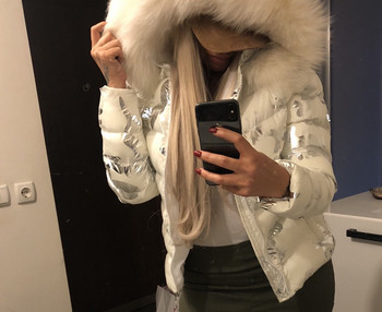 Дамско яке ествствен пух Бяло камуфлаж