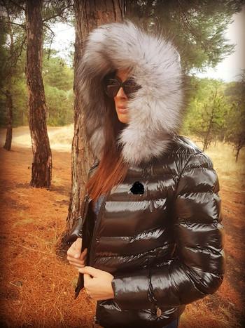 Дамско яке естествен пух черно лак