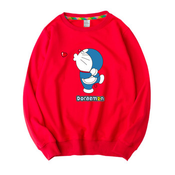Ежедневна детска блуза за момичета с различни апликации в червен цвят