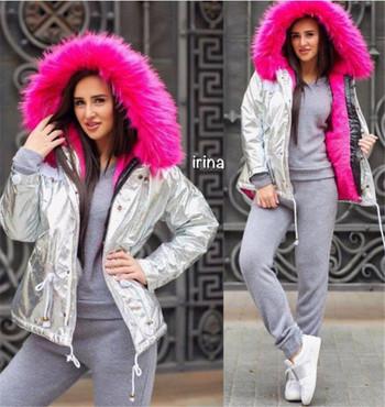 HIT Μοντέρνο γυναικείο μπουφάν με floral fluff και μαλακή επένδυση σε διάφορα χρώματα