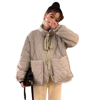 Модерно дамско яке с връзки и големи джобове в два цвята