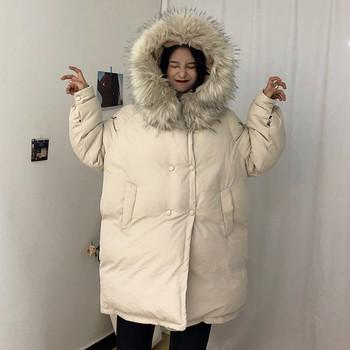 Χειμερινό μπουφάν με μακρύ μανίκι και κουκούλα σε ανοιχτό χρώμα
