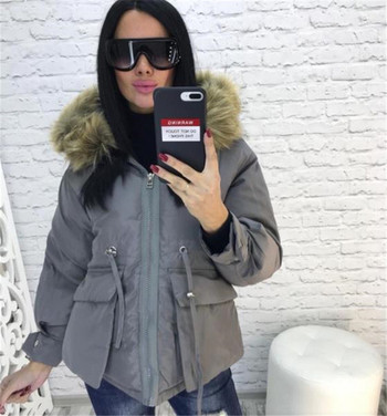 Χειμερινό γυναικέιο μπουφάν με μεγάλες τσέπες ασύμμετρη μοτίβο σε διάφορα χρώματα