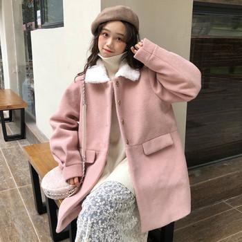 Модерно дамско палто с джобове и пухена яка в няколко цвята