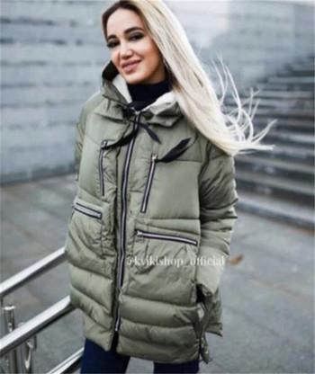Χειμερινό γυναικέιο χειμωνιάτικο μπουφάν  με τσέπες και κουκούλα σε διάφορα χρώματα