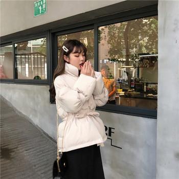 Модерно дамско зимно яке с връзки в два цвята