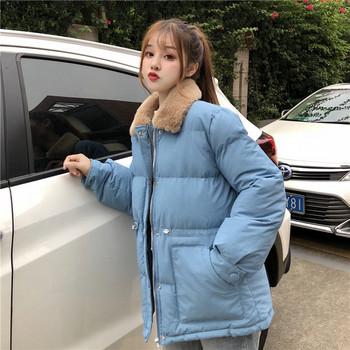 Дамско зимно яке с пухена яка и джобове в три цвята