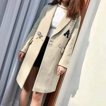 Модерно дамско палто с цветни емблеми в няколко цвята