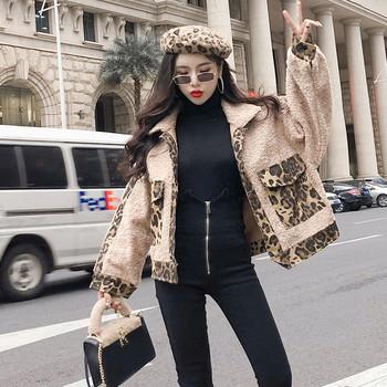 Κομψό γυναικείο μπουφάν με μπεζ χρώμα με στοιχεία λεοπάρδαλης