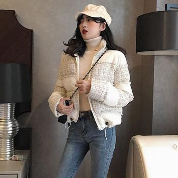 Κομψό γυναικέιο χειμωνιάτικο μπουφάν σε μαύρο και άσπρο χρώμα