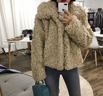 Модерна дамско пухено палто къс модел в няколко цвята