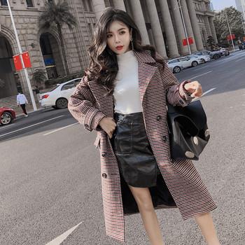 Карирано дамско дълго палто в два цвят