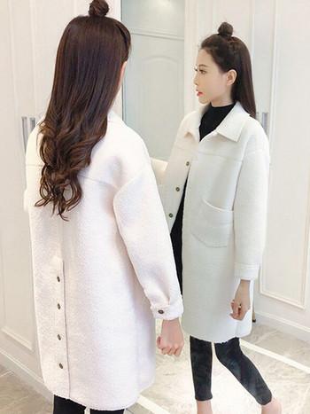 Елегантно дамско дълго палто в три цвята