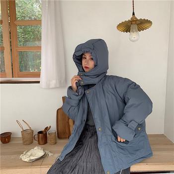 Дамско яке в син цвят - широк модел с качулка