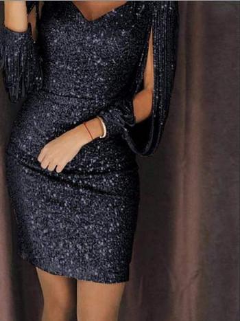 Стилна дамска рокля с V-образно деколте и лъскав ефект в три цвята