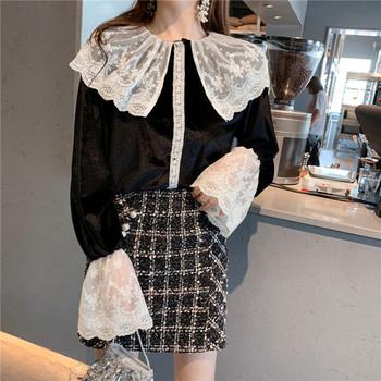 Дамска риза ретро модел в черен цвят с дантела
