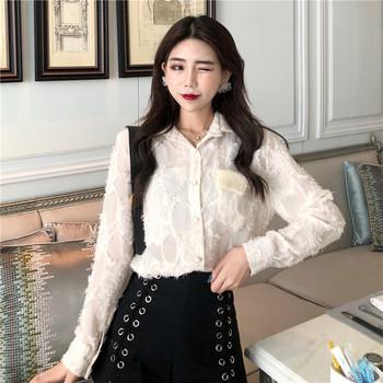 Стилна дамска риза с дантела в два цвята