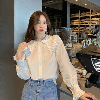 Стилна дамска риза в бял цвят с дантела