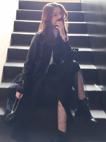 Модерно дамско яке в черен цвят