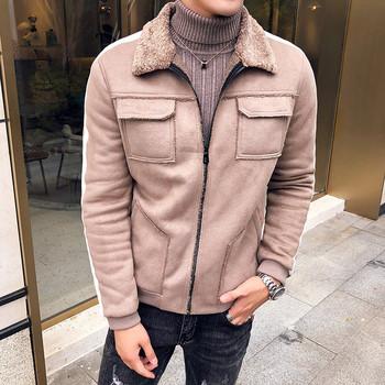Μοντέρνο ανδρικό μπουφάν με τσέπες και μαλακή επένδυση σε μαύρο και μπεζ  χρώμα b7ceb8818f7
