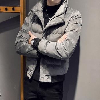 Ανδρικό μπουφάν με V-κολάρο σε μαύρο και γκρι χρώμα - Badu.gr Ο ... 6fc7b93b51a