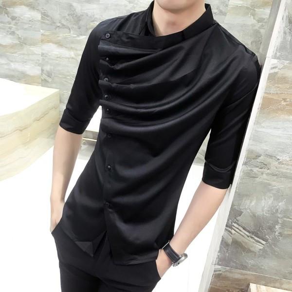 55db7c803c1 badu.gr - Μοντέρνο ανδρικό πουκάμισο με πλαϊνό κούμπωμα σε δύο σχέδια και  δύο χρώματα