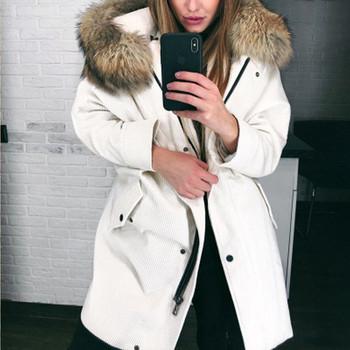 Γυναικείο χειμερινό μπουφάν με μακρύ μοντέλο σε λευκό και ροζ χρώμα