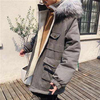 Ανδρικό χειμωνιάτικο μπουφάν με τσέπες και γούνα στη κουκούλα σε διάφορα  χρώματα 6cf58ecf422
