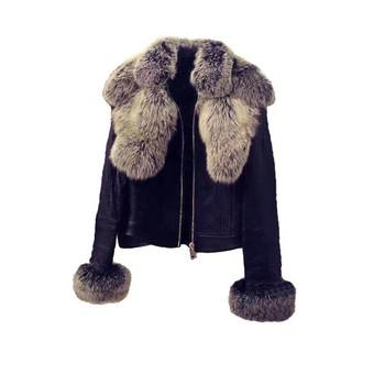 HIT Μοντέρνο δερμάτινο μπουφάν  με έγχρωμη γούνα στην γιακά