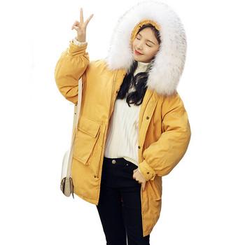 Καθημερινό γυναικείο χειμωνιάτικο μπουφάν με πολύχρωμο χνούδι σε διάφορα χρώματα