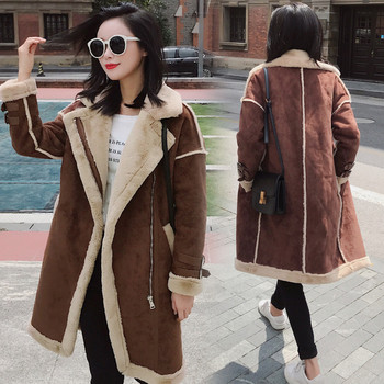 Стилно дамско палто дълъг модел със страничен цип в два цвята
