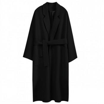 Модерно дамско палто дълъг модел с V-образно деколте в два цвята