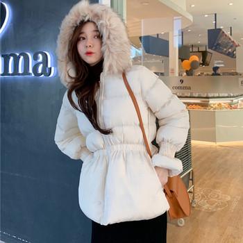 Χειμερινό γυναικείο μπουφάν με κουκούλα με ελαστική μέση σε διάφορα χρώματα